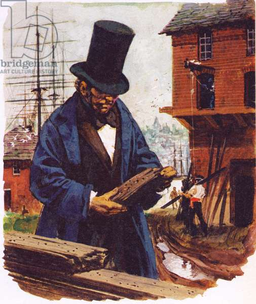 Brunel got his inspiration for his tunnelling shiefd from watching a shipworm boring into an oak plank (colour litho)