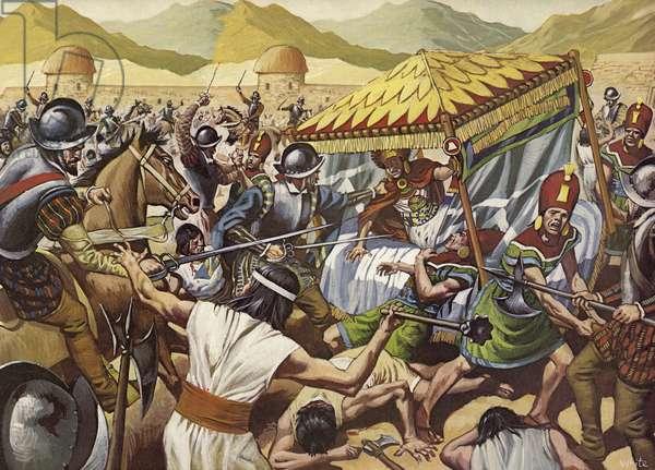 Spaniards toppling the Inca Empire of Peru. (colour litho)