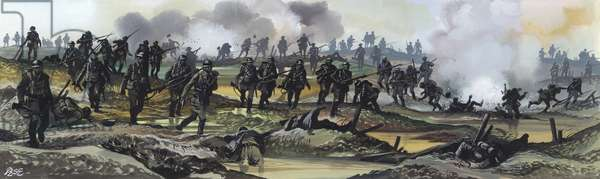 The Battle Of The Somme, 1916 (gouache on paper)
