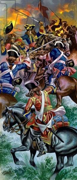 The Duke of Marlborough unhorsed at The Battle Of Ramillies, 1706 (gouache on paper)