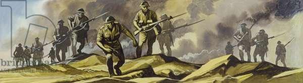 The Battle Of El Alamein,  1942 (gouache on paper)