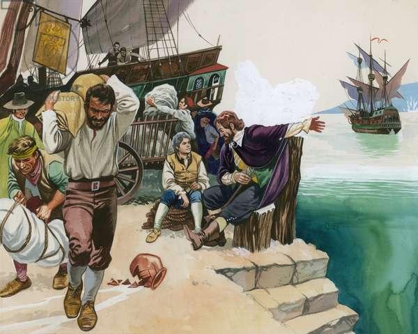 Pirates landing at harbour