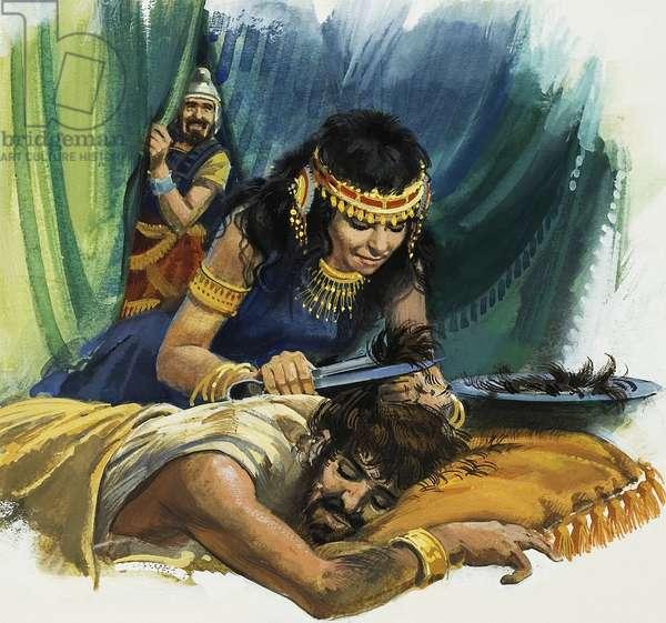 Samson and Delilah (gouache on paper)