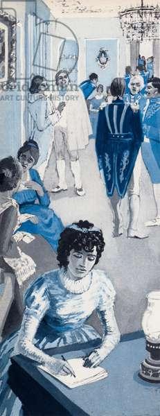 Jane Austen often went into a corner to jot down snatches of conversation (litho)
