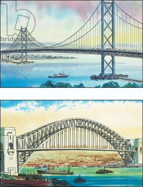 The Golden Gate Bridge in San Francisco and the Sydney Harbour Bridge
