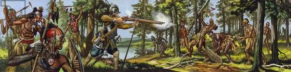 Samuel De Champlain helping his Algonquin allies in a raid against their old enemies, the Iroquois (gouache on paper)