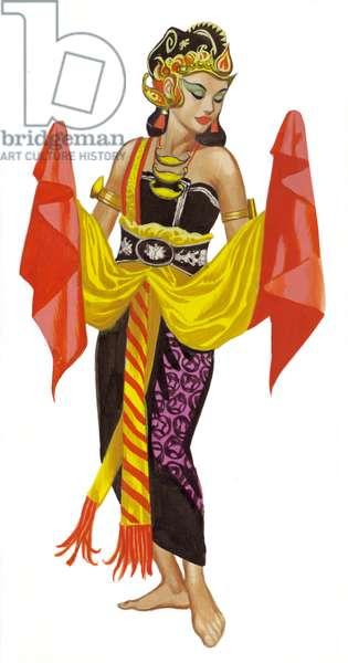 Mata Hari dancing (gouache on paper)