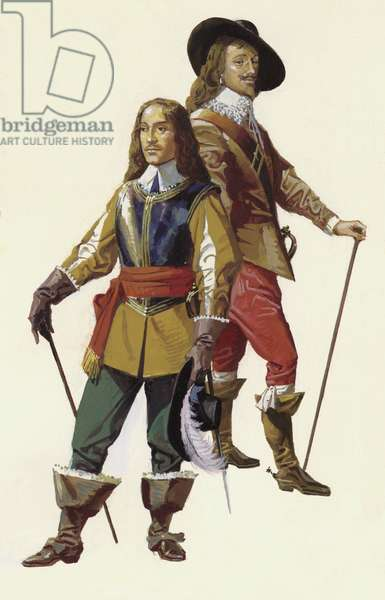 Oliver Cromwell and king Charles I (gouache on paper)