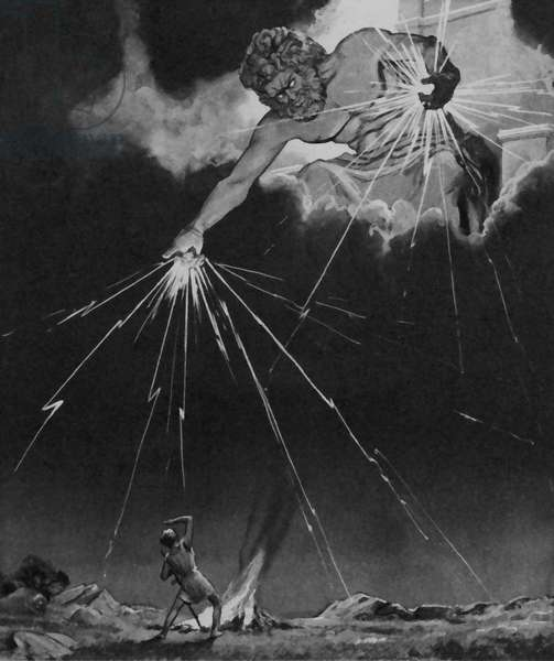 Jupiter throwing thunderbolts across the Earth (litho)