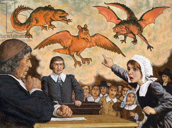 On Trial, when Satan came to Salem, 1978 (gouache on paper)