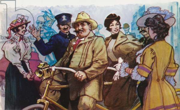 Diamond Jim Brady and Lilian Russell out for a ride on his gold-plated tandem (colour litho)