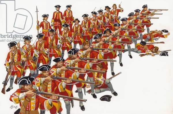 The Battle of Minden (gouache on paper)