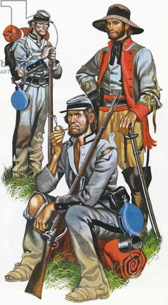 The Southern army in the American Civil War (colour litho)
