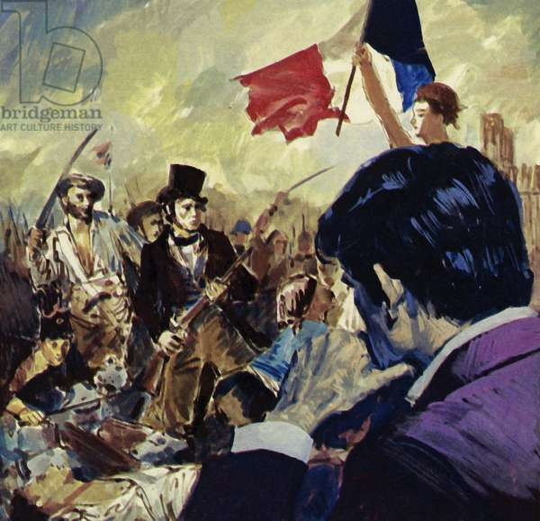 The French Revolution inspired Eugene Delacroix to paint Liberty guiding the French people (colour litho)