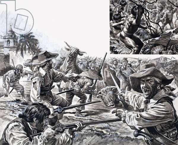 Morgan's Marauders, from 'The Treasure Hunters' (gouache on paper)