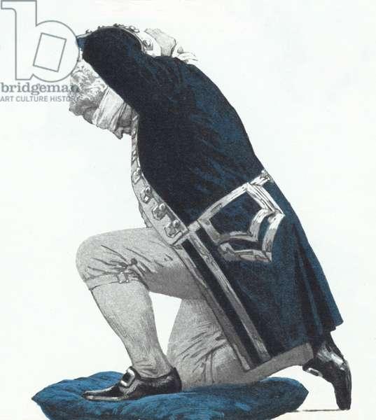 Admiral Byng blindfolding himself before being shot (colour litho)