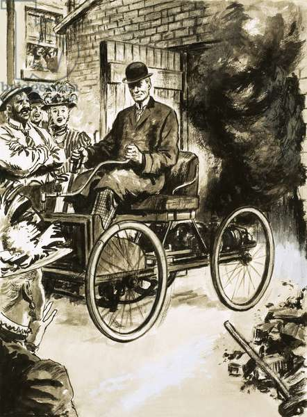 Henry Ford with his first 'horseless carriage'