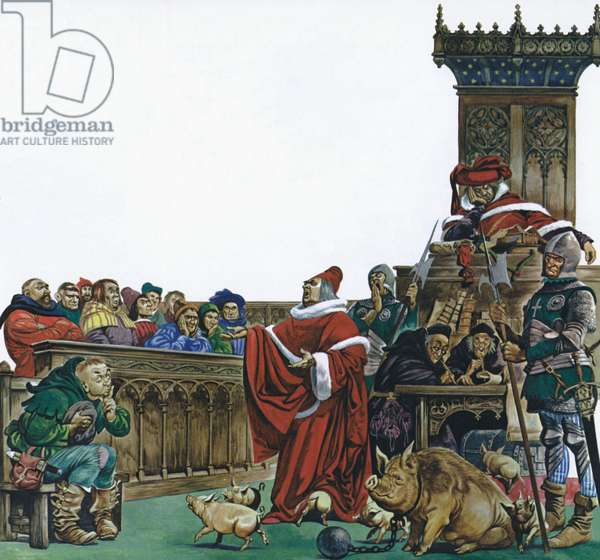 Medieval court in which animals were put on trial (colour litho)