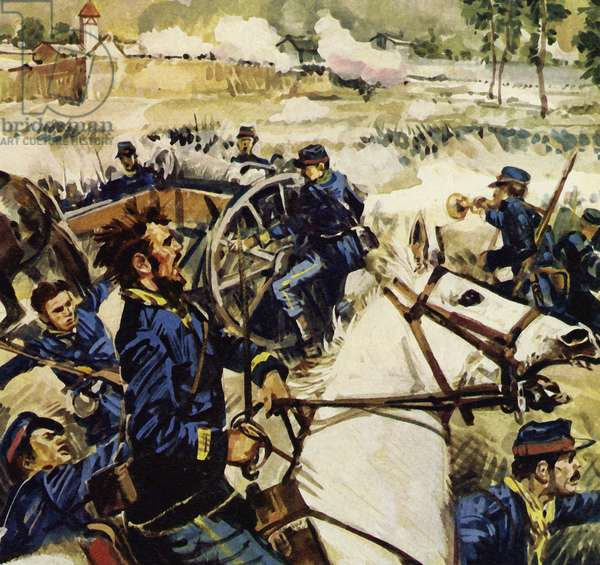 When war broke out between France and Prussia, Manet joined the artillery (colour litho)