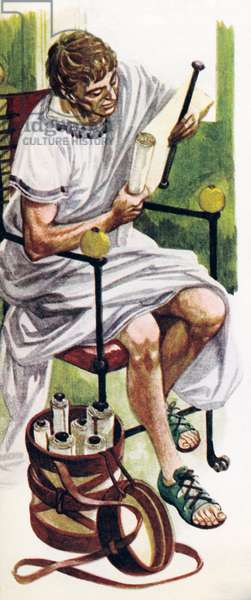 Roman books were scrolls which people unrolled as they read (colour litho)