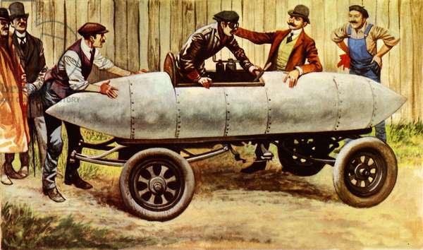 Le Jamais Contente, the first car to travel at over 60 mph (colour litho)