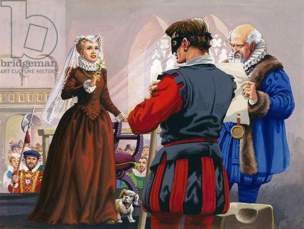 Mary Queen of Scots about to be beheaded at Fotheringay Castle (gouache on paper)