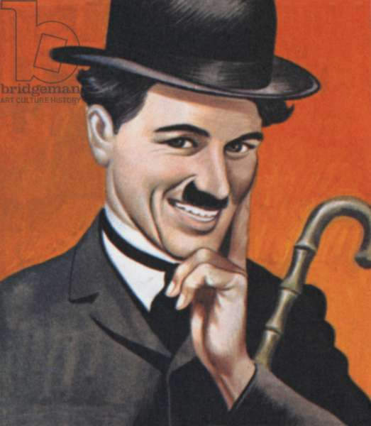 Charlie Chaplin, in costume, and as he really was (colour litho)