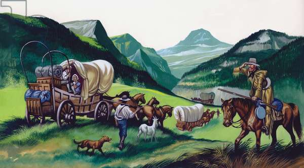 The wagons followed the National Road to the West (gouache on paper)