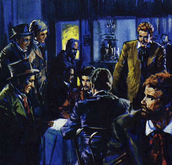 The Cafe Guerbois became the meeting place of Renoir's friends (colour litho)