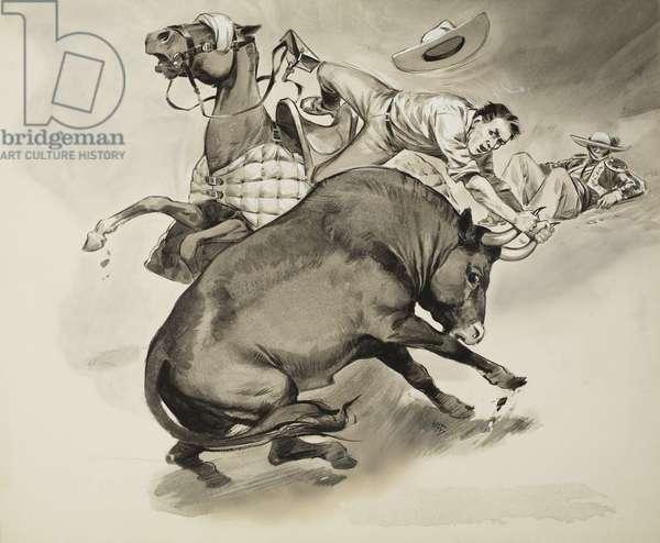 Bull Fighting Protest (gouache on paper)