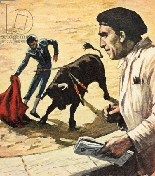 Pablo Picasso watching a bullfight (colour litho)