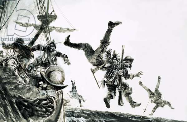 The Earl of Cumberland, pirate, boards a Portuguese carrack (gouache on paper)