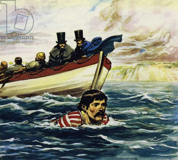 Captain William Webb was the first man to swim the Channel (colour litho)