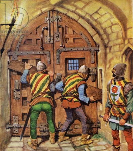 Barring the gates (colour litho)
