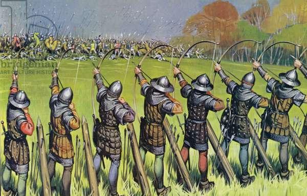 English archers at The Battle Of Agincourt (colour litho)