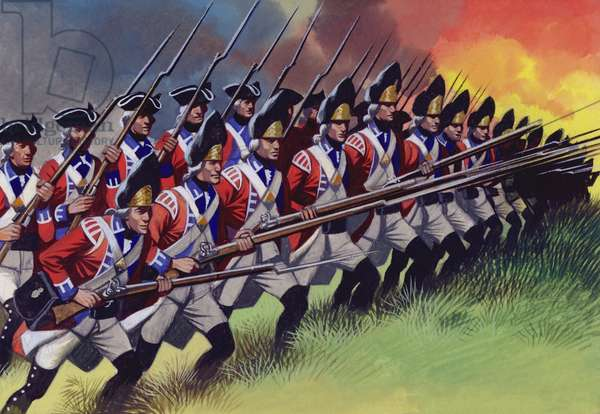 The Battle Of Bunker Hill, at which the British lost a third of their troops (gouache on paper)