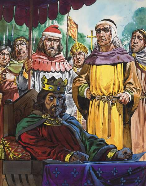 King John (1166-1216) reluctantly signing the Magna Carta at Runnymede (gouache on paper)