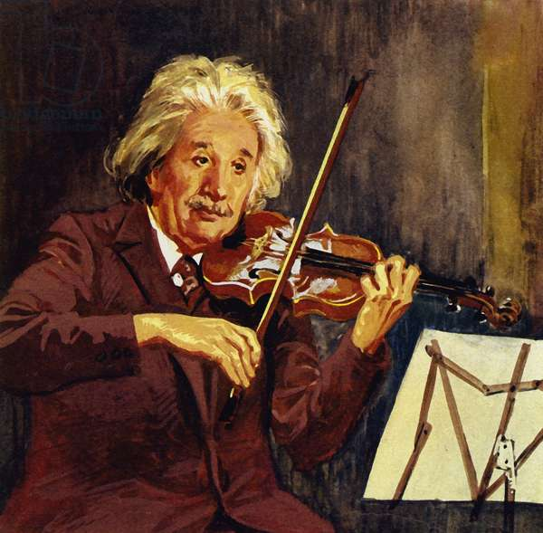 Einstein loved playing the violin (colour litho)