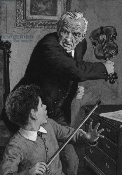 The young Sir John Barbirolli, about to have a violin broken over his head by his grandfather (litho)