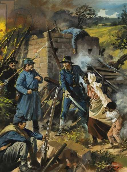 John Brown on 30 August 1856 intercepting a body of pro-slavery men (gouache on paper)