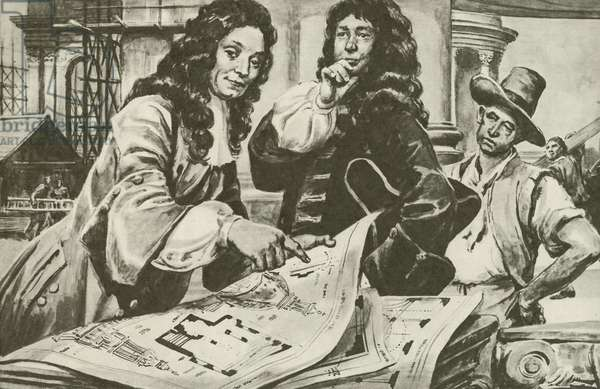 Sir Christopher Wren, the architect of St Paul's Cathedral, London (litho)