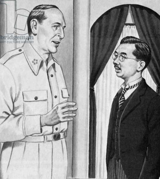 Hirohito meets General Douglas MacArthur for the first time, September 1945 (litho)
