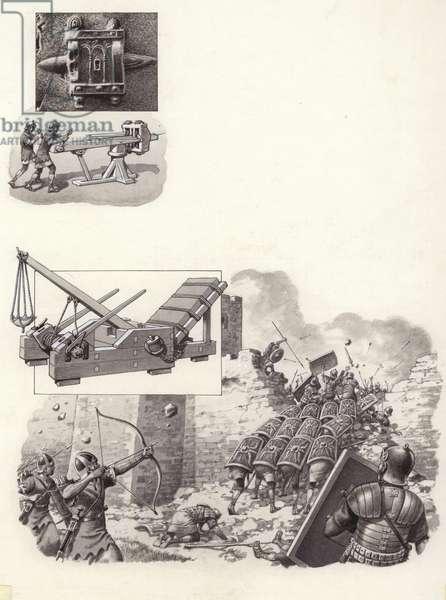Roman catapult (gouache on paper)