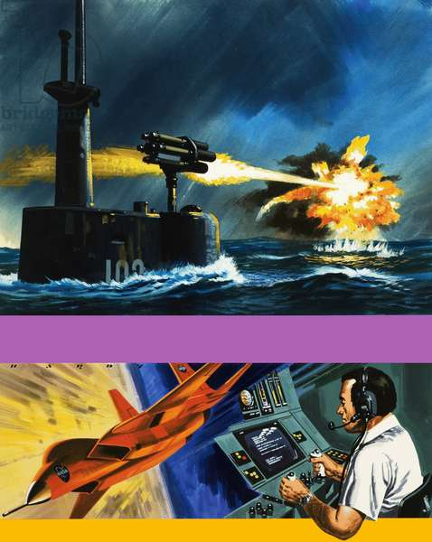 A rocket launcher developed for use by submarines and a robot spy plane with his controller