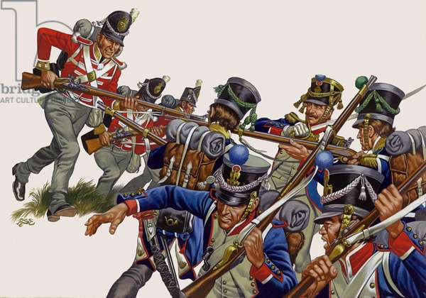 The Battle of Salamanca, Thomieres' men, caught by the British, broke under a bayonet charge (gouache on paper)
