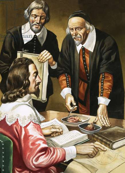 Charles I and William Harvey discussing the heart