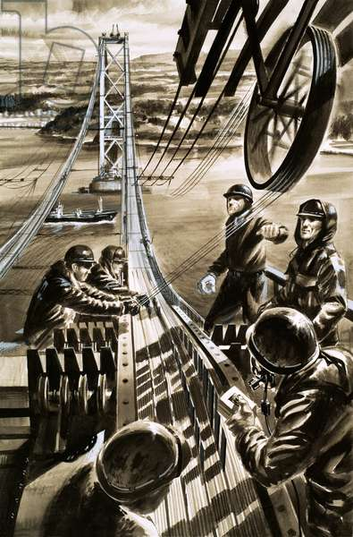Building the bridge across the Firth of Forth (gouache on paper)