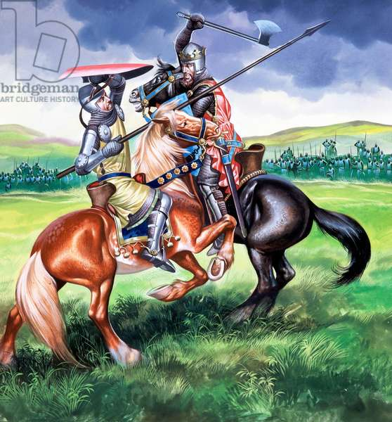 Robert Bruce about to kill Sir Henry de Bohum (gouache on paper)