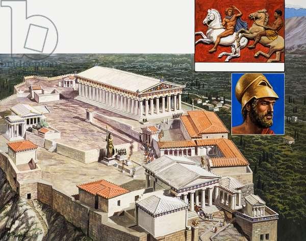 The Acropolis and Parthenon, 1981 (gouache on paper)