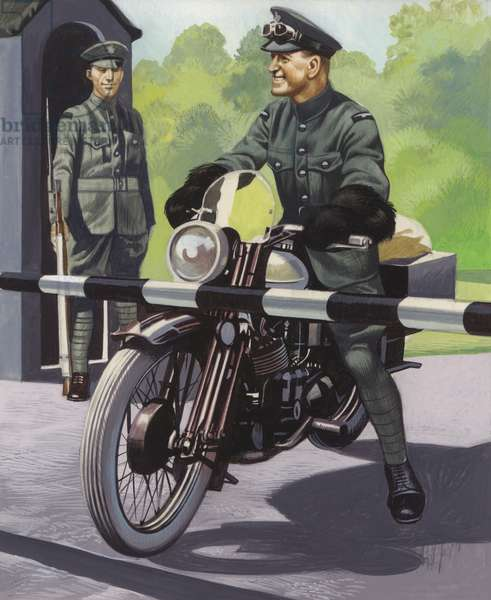 T E Lawrence in the RAF (gouache on paper)